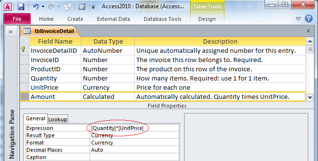 Microsoft access tips calculated fields for Table design view in access 2010