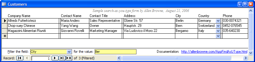 Microsoft Access tips: Find records as you type